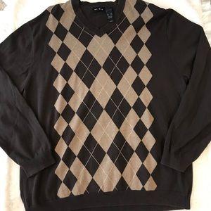Men's Brown Argyle Sweater, size XXL